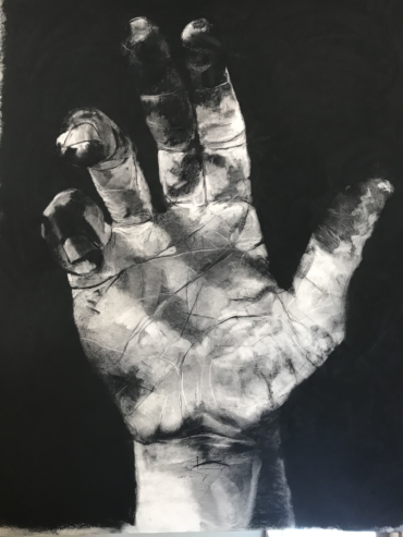 """his hands would shape and mold me into all he knew I could be "" Charcoal on paper, 50""x28"" (unframed) 2018"