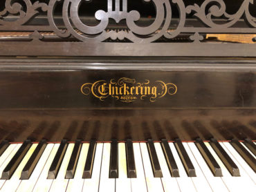1874 Chickering Square Grand Piano keyboard with Chickering logo