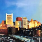 "Chris Plunkett, ""Sunrise Over the City,"" Oil on Panel, 24""x24"", $1200, https://www.chrisplunkettstudios.com/carousel.php?galleryID=208528"